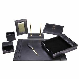 8 Piece Black Eco friendly Leather Desk Set