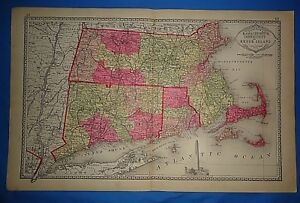 Vintage 1885 Massachusetts Connecticut Ri Map Old Antique Original Tunison Atlas
