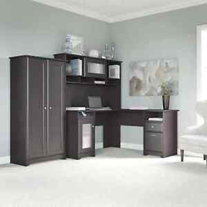 Cabot Espresso Oak L shaped Desk Hutch And Tall Storage Cabinet With Doors