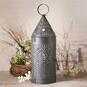 Colonial New Large Cathedral Smokey Black Punched Tin Lantern Light