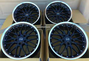 18 Staggered Mrr Gt1 Wheels For Bmw E46 M3 18x8 5 18x9 5 Black Rims Set 4