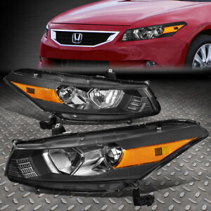 For 08 12 Honda Accord Coupe Black amber Corner Projector Headlight Head Lamps