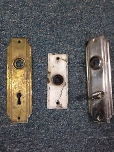 Lot Of 3 Vintage Antique Door Knob Backplate Plate Covers Art Deco