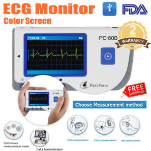 Portable Ekg Ecg Heart Monitor Heal Force Handheld Lead Cable W 50 Electrodes Us
