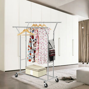 Heavy duty Adjustable Double Rail Rolling Garment Rack Clothes Display Chrome Us