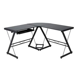Comfort Products Black Glass top L shaped Desk