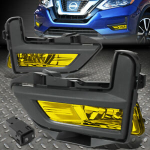 For 2017 2018 Rogue Pair Amber Lens Front Bumper Fog Light W switch bezel Cover
