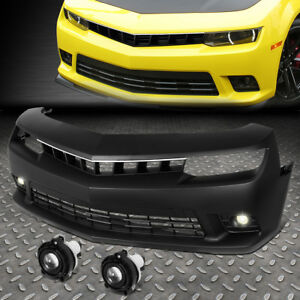 For 2010 2015 Chevy Camaro Fence Style Front Bumper W Projector Led Fog Light