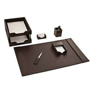 Brown Leather 7 piece Econo Line Desk Set