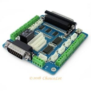 5 Axis Cnc Breakout Board Interface Adapter For Stepper Motor Driver db25 Cable