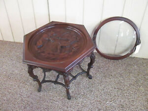 56411 Antique Tray Top Coffee Table With Indian Hunting A Bear Carving