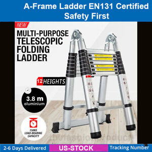 12 5ft Aluminium Telescopic Ladder Fast Fold Extension Alloy Steps Multi purpose