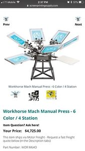 Workhorse 6x4 Used Screen Press Machine Plus Canon printer And Lincoln Exposer