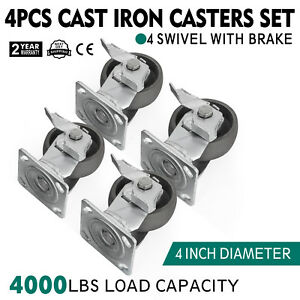 Set Of 4 Swivel Casters 4 W Brake Freight Terminals Warehouse Carts Flexible