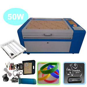 50w Co2 Laser Engraver Cutter Machine Usb Interface W Auxiliary Rotary Device