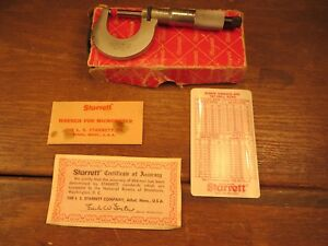 Starrett 230mrl Metric Micrometer 01mm Grads Ratchet Stop Locknut W Box