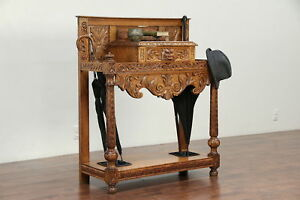English Antique Oak Hall Cane Umbrella Stand Carved Lion Head 29936