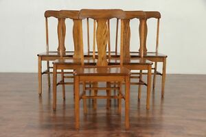 Set Of Six Solid Oak Antique 1910 Dining Chairs 29945