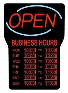 Royal Sovereign Led Open Sign With Hours Ultra Bright Wall Mount Business Signs
