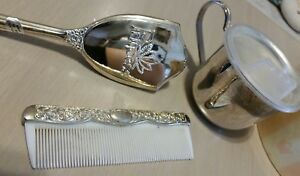 Silverplate Baby Cup By Leonard Hong Kong Mud Pie Girl Brush Comb Princess