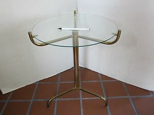 Mid Century Side Table 3 Legs Metal Glass Top Gold Tone 19 5 T Atomic Jetson S