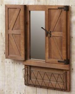 Country New Large Wood Barn Doors Wall Mirror W Basket