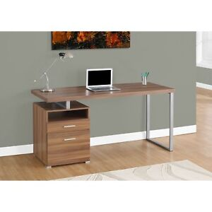 Computer Desk walnut silver Metal 60 Inches Long
