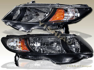 Fit For 2006 2011 Honda Civic 2dr Coupe Black Housing Headlights