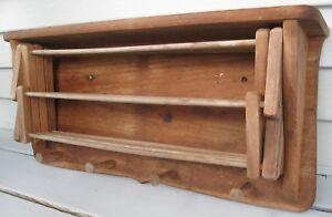 Antique Vintage Wall Mount Drying Rack Accordian Style 12 Spindles