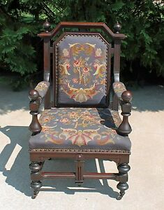 Outstanding Walnut Victorian Parlor Armchair With Roses Needlepoint Fabric C1870