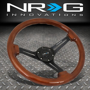 Nrg Reinforced 350mm 3 deep Dish Matte Black Spokes Brown Wood Steering Wheel