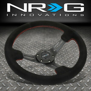Nrg Reinforced 350mm 3 deep Dish Spoke Red Stitching Suede Grip Steering Wheel