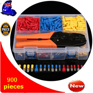 900pcs Electrical Assorted Wire Connector Crimp Terminals Kit Crimping Plier