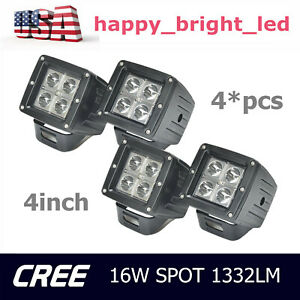 4x 3 Inch 16w Cree Led Work Light Cube Pods Driving Work Fog Flood Light Offroad