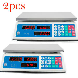 2 Lot Computing Scale Electronic Price Digital Food Meat Deli 66 Lbs Weight Ce