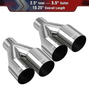 2x Dual Staggered Exhaust Tip Single Layer Straight Cut 2 5 Id 3 5od 10 25 Long