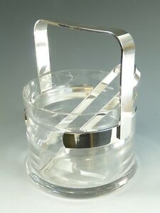 Italy Silver Plate Pm Argente Modernist Ice Bucket Tongs