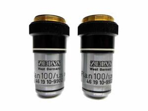 Pair Of Carl Zeiss Oil Immersion Objective Plan 100 1 25 160 Oel 46 19 10 9902
