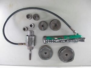 Greenlee 746 Slug buster Ram 767 Hand Pump Hydraulic Knockout Driver Set