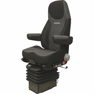 K M Manufacturing National Truck Seat Two Tone Black Gray