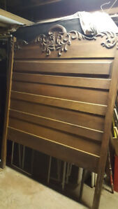 Antique Solid Oak Full Size Bed Headboard Footboard Two Side Rails