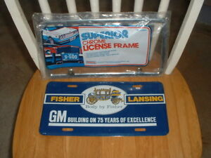 Nos Gm Chevy Pontiac Buick Olds Vintage License Plate Topper Cadillac Corvette