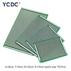 40pcs Set Pcb Printed Circuit Board Duel Sides Prototyping Breadboard 4 Sizes 6