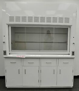 Used Laboratory Chemical 6 Fume Hood W Outlet Valves Cabinet And Epoxy Top