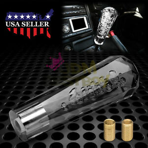 Shift Knob Stick Black Gray Smoke Crystal Bubble Manual Gear Shifter 15cm Long