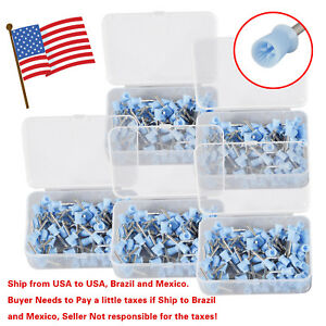 500 Pcs Dental Prophy Brush Cup Polishing Cups Polisher Disposable Latch Blue Ru