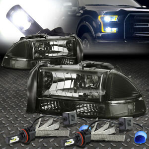 Smoked Housing Headlight Clear Corner 6000k White Led System For 97 04 Durango