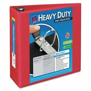 Avery Heavy duty View Binder With Locking 1 touch Ezd Rings 4 inch Capacity Red
