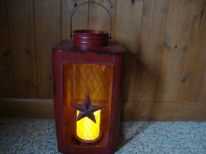 Country New Large Red Tin Star Candle Lantern W Built In Led Candle