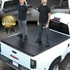 For 1999 2018 Ford Super Duty 8ft Long Bed Frp Hard Solid Tri fold Tonneau Cover